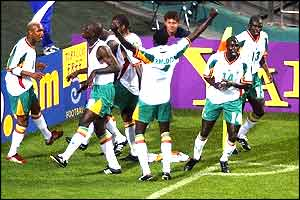 Senegal celebrate taking the lead against World Champions France