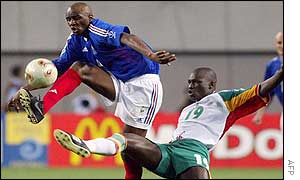 Vieira was the pivotal player in the French team but he could not prevent defeat to Senegal