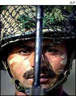 Indian soldier at an army camp near the Pakistan border