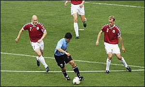 Denmark refused to give Uruguay time on the ball