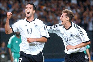 Germany's Michael Ballack celebrates his goal with teammate Miroslav Klose