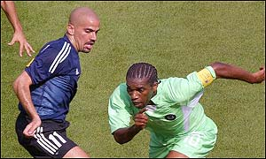 Argentina captain Juan Sebastian Veron outplayed his opposite number Nigeria's Jay-Jay Okocha