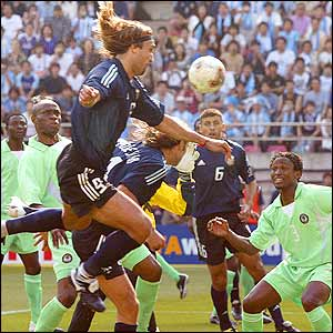 Argentinian hero Gabriel Batistuta pounces to head home his teams first goal of the competition