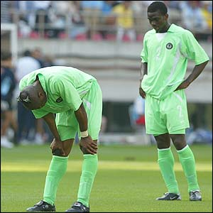 Taribo West of Nigeria shows his disappointment after losing to Argentina