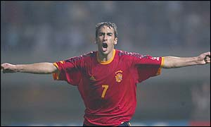 Spain and Real Madrid striker Raul celebrates the opening goal against Slovenia