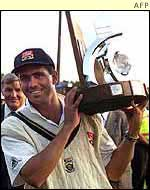 Cronje after winning the test match series against England in Pretoria in 2000