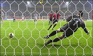 Spain defender Fernando Hierro scores from the penalty spot