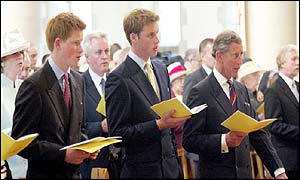 Prince Harry, Prince William and Prince Charles