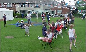 Children playing games at the Graham Road Jubilee Party