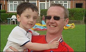 Stuart McCafferty and his son Owen at the Graham Road Jubilee Party