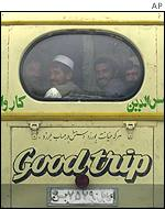 Afghans on a bus