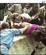 A victim being pulled from the rubble of the 1998 Nairobi US embassy bombing