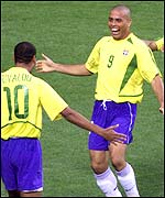 Ronaldo (right) and Rivaldo celebrate Brazil's equalising goal