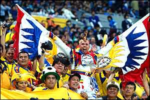 Ecuador fans get in the party mood before their game against Italy