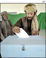 A district representative voting to elect his regional delegate to the loya jirga