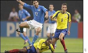 Ecuador were outclassed by Italy in their first-ever World Cup fixture