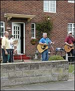 Musicians in the front garden