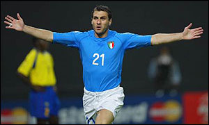 Vieri celebrates the first of his two goals