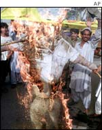 Pakistanis burn an effigy of the Indian premier