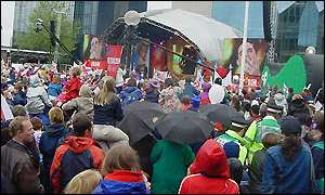 Crowds at the Blue Peter Jubilee Party, Centenary Square, Birmingham