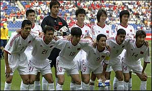 The China team before their first ever World Cup finals match