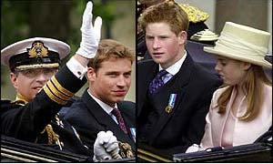 Duke of York, Princes William and Harry and Princess Eugenie