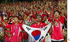 Korean fans show their colours