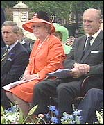 Prince Charles, the Queen and the Duke of Edinburgh