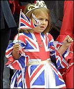 Girl wearing Union Jack dress