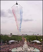 Concorde leads the Red Arrows over The Mall