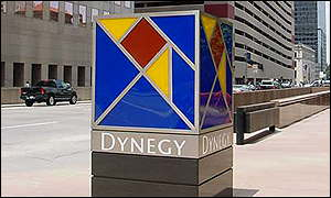 Dynegy logo on the streets of downtown Houston