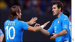 Italy playmaker Francesco Totti celebrates with Christian Vieri after their win over Ecuador