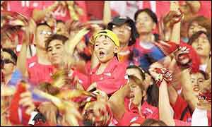 Korean fans go wild after the win over Poland