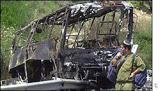 Israeli bus destroyed by suicide bomber