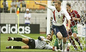 America's John O'Brien celebrates scoring the opener against Portugal