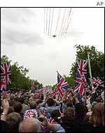Concorde and the Red Arrows leave coloured trails over London