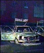 Burned out car after 1998 Strasbourg unrest