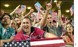 American fans celebrates the shock opening win