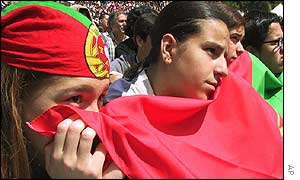 Portuguse fans who had watched the game in Lisbon