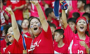 South Korean fans in joyous mood