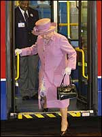 The Queen getting off a bus