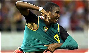 Cameroon Samuel Eto'o celebrates scoring for the Indomitable Lions
