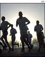 Indian soldiers during morning exercise