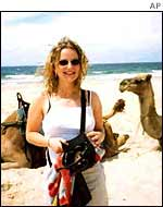 Caroline with camels in Australia
