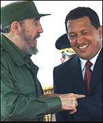 Fidel Castro with Hugo Chavez