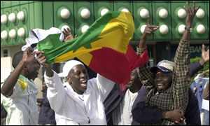 Senegalese fans after the draw against Denmark