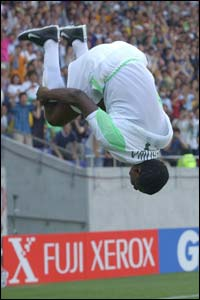 Julius Aghahowa celebrates his goal against Sweden