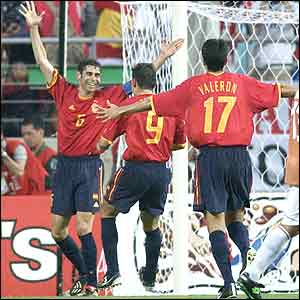 Hierro nets Spain's third goal to put them into the second round