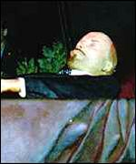 Lenin's body inside the mausoleum on Red Square