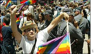 Participants in Jerusalem's gay pride march in June